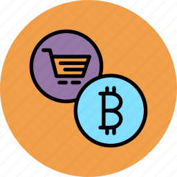 bitcoin, cart, currency, electronic, finance, online, shopping icon
