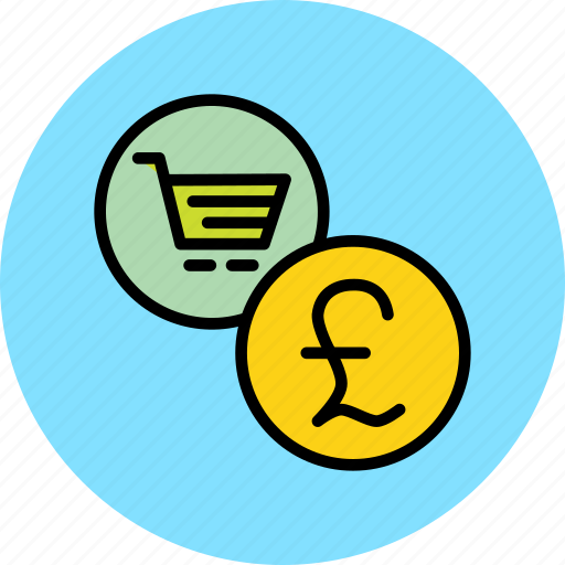 british, cart, commerce, finance, online, pound, shopping icon