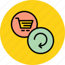 basket, cart, ecommerce, online, refresh, reload, shopping icon