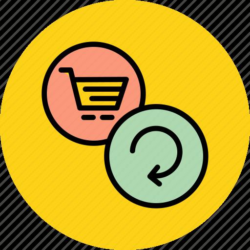 basket, cart, ecommerce, online, refresh, reload, shopping icon