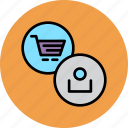 account, cart, commerce, finance, online, profile, shopping icon