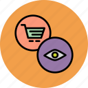 access, account, cart, online, overview, shopping, view icon