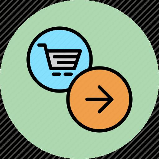 arrow, cart, finance, forward, next, online, shopping icon