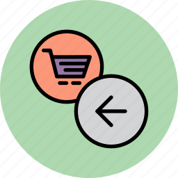 arrow, backward, cart, finance, online, previous, shopping icon