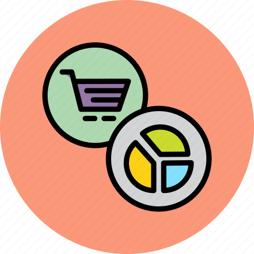 analysis, cart, chart, online, pie, report, shopping icon