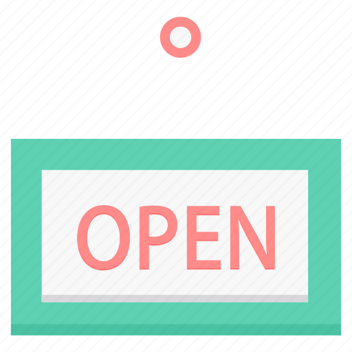 board, open, shop, sign, store icon