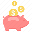 dollar, money, pig, piggy, save, saving, savings icon