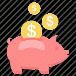 dollar, money, pig, piggy, save, saving, savings icon
