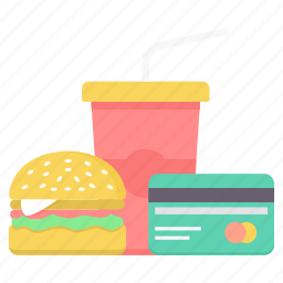 bill, burger, card, food, meal, pay, payment icon