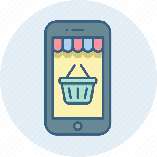 basket, cart, mobile, online, phone, shopping, smartphone icon