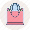 abroad, bag, cart, international, sale, shop, shopping icon