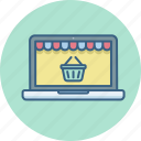 buy, cart, ecommerce, laptop, online, shopping, website icon