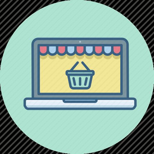 buy, cart, ecommerce, laptop, online, shopping, website icon