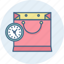 bag, duration, period, sale, shopping, time icon