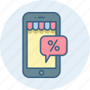 app, discount, mobile, online, phone, shopping, smartphone icon