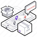 delivery tracking, order tracking, parcel tracking, search parcel, track for order icon