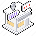 market location, marketplace, shop location, store, store ratings icon
