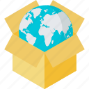 e-commerce, globe, packaging, products, shopping icon