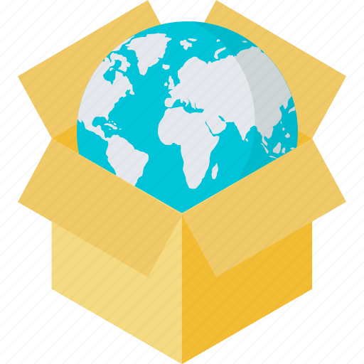 e-commerce, flat design, globe, packaging, products, shopping icon