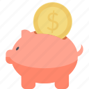 banking, finance, flat design, guardar, money, piggy bank, save, savings icon