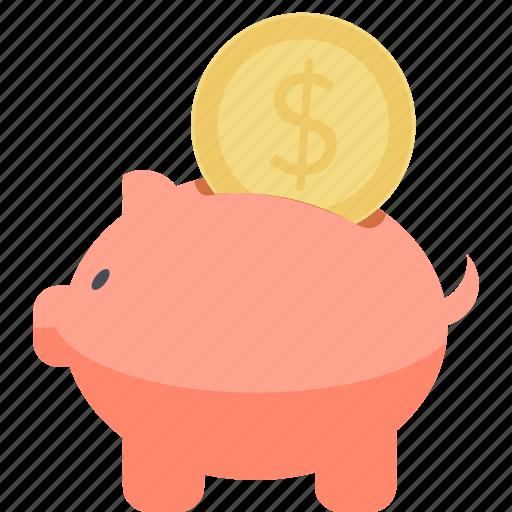 banking, finance, flat design, guardar, money, piggy bank, save, savings icon