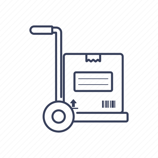 box, commerce, delivery, package, trolley icon