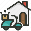 delivery, home icon