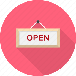 information, label, message, open, shopping, sign icon