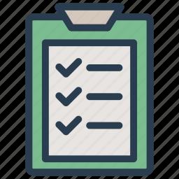 checklist, clipboard, document, page icon
