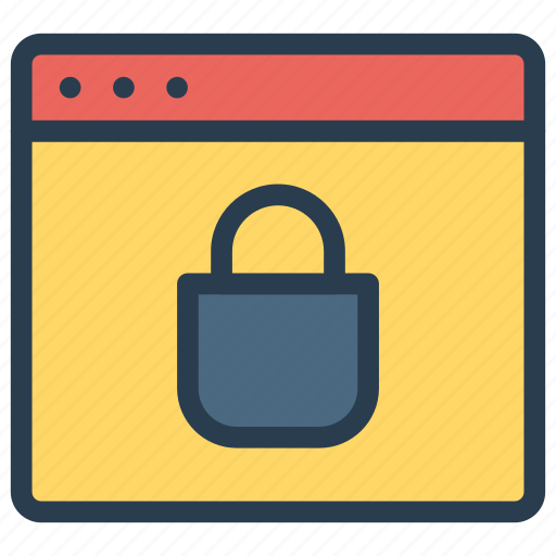 browser, lock, security, webpage icon