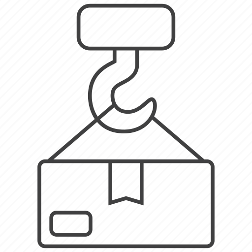 box, cargo, crane, goods, loading, shipping, warehouse icon