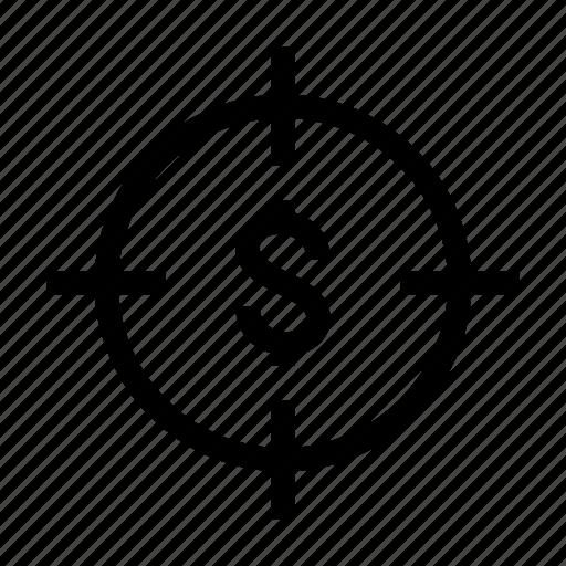 aim, business, cash, dollar, goal, money, target icon