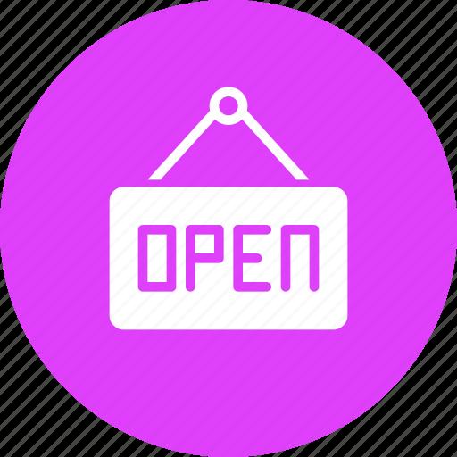 hang, hanger, open, shop, shopping, sign icon