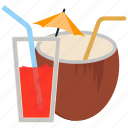 alcohol, cocktail, coconut, drink, lemon icon