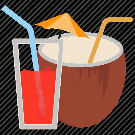 alcohol, cocktail, coconut, drink, lemon icon