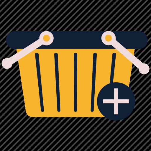 basket, cart, commerce, pluse, shopping basket icon
