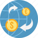 bank, convert, currency, international, money, transfer icon
