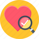 heart, magnifier, favourite, wishlist icon