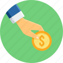 currency, gesture, hand, money, payment icon