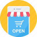 mobile, open, shop, website, app, apps, shopping icon