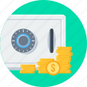bank, locker, money, money locker, safe, safety icon