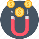 money, money making, business, finance, magnet, revenue icon
