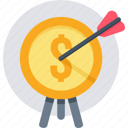 business, finance, marketing, revenue, target icon