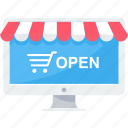 cart, ecommerce, online, open, shop, shopping, website icon