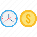 bank, cash, coin, currency, dollar, money, time icon