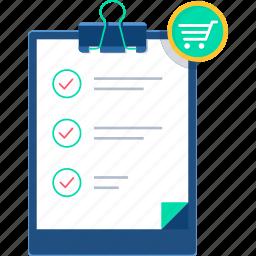 checklist, clipboard, itemlist, items, list, shopping, shopping list icon