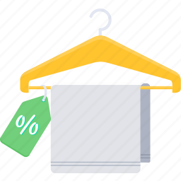 clothes, discount, hanger, percentage, sale, shop, towel icon