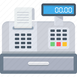 bill, billing, electronic, invoice, machine, receipt, shopping icon