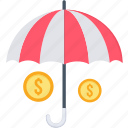 insurance, investment, life insurance, money, plan, retirement, umbrella icon