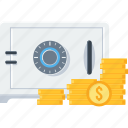 bank, cash, lock, locker, money, safe, safety icon